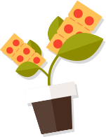 Plant growing pizza slices